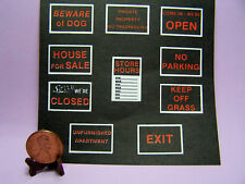 Miniature Dollhouse Sheet of Outdoor Store Signs
