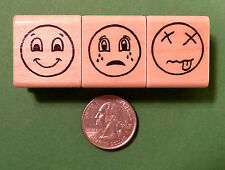 Expressions Smiley Face Set of 3, Regular Size, Teacher's Rubber Stamps Set