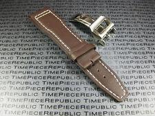 20mm Brown Calf Leather Strap Deployment Buckle Watch Band Set Top Gun PILOT II