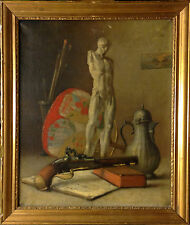STILL LIFE W. NUDE MALE and FLINTLOCK PISTOL. High quality fine oil