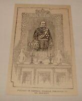 1887 magazine engraving ~ PORTRAIT OF EMPEROR WILHELM