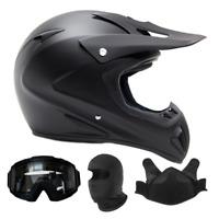Adult Snocross Combo Snowmobile Helmet Matte Black Goggles Balaclava DOT