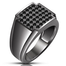 2.00 Ct Aaa Diamond Wedding Men's 14K Black Gold Over Engagement Pinky Band Ring