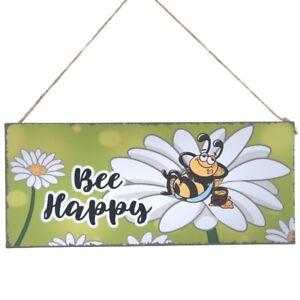 Schild 'Bee Happy' Metall am Juteband 30 x 13 cm