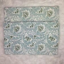 Pottery Barn Lumbar Pillow Cover Ivory Pale Turquoise Green Damask Scroll 16x26