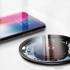 Baseus 10W Tempered Glass Pad Qi Wireless Fast Charger Dock Mount For iPhone A