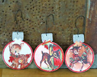 Set of 3 Vintage Retro Fawn Deer Button Christmas Tree Ornaments Double Sided