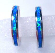 GORGEOUS BLUE  FIRE OPAL  HOOP EARRINGS  20 X 3 MM