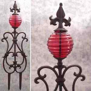 FLEUR-DE-LIS & RED GLASS GLOBE Cast Iron GARDEN STAKE Yard Art Garden Decor