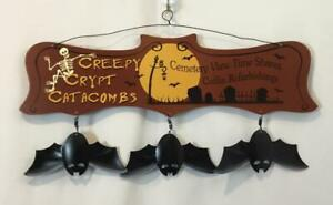 Wood Halloween Door Sign or Wall Hanging with Attached Metal Bats & Wire Hanger