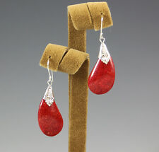 NEW GENUINE RED SPONGE CORAL .925 STERLING SILVER BALI HANDMADE PIERCED EARRINGS