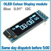 "OLED Display Blue 128x32 0.91"" I2C SSD1306 Arduino, ESP8266, MicroPython"