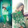 Fashion Lady Women Green Leaf Hollow Lace Crochet Chiffon Top Long Sleeve Blouse