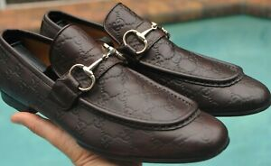 """GUCCI Man's Maroon   Leather """"GG"""" Embossed Loafer Shoes Sz10 D Size US 10.5"""