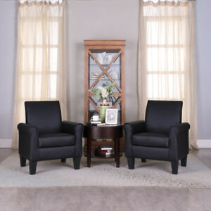 Black Modern Accent Arm Chair Leather Single Sofa Living Room Leisure Comfy Seat