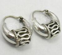 """Solid Silver HOOP Earrings 1.3"""" ! Handcrafted Vintage Style Jewelry 8.8 Grams"""