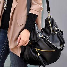Korean Fashion Big Capacity Black Shoulder Handbag PU Leather Hobo Retro