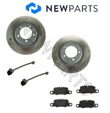 For Porsche Panamera 10-14 Rear Vented Slotted OEM Rotors TRW Pads Sebro Sensors
