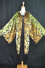 Art to Classic Golden Flower Burnout Velvet Fringe Kimono Opera Coat Jacket