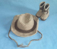 HANDMADE CROCHET COWBOY COWGIRL HAT BOOTIES SET TAN & BROWN BABY TODDLER