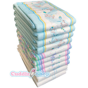 Cuddlz Sample Pack of 10 Adult Incontinence Nappies Diapers Patterned and White