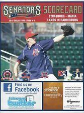 2010 Harrisburg Senators Scorecard #1 picturing Stephen Strasburg