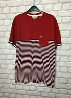 PENGUIN MEN'S T SHIRT CASUAL TOP SIZE L RED WHITE MIX STRIPED 100% COTTON