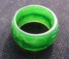 rare natural  AA green jadeite hand carved band ring sz9-9.5