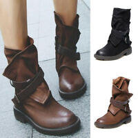 Women Vintage Mid Calf Soft Shoes Autumn Winter Motorcycle Boots Steampunk Style