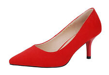 Verocara Women Mid Heel Pointed Toe Classic Style Suede Dress Pump Shoe Size 10