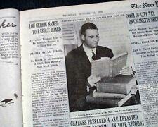 LOU GEHRIG New York Yankees Baseball Named to Parole Board 1939 NYC Newspaper