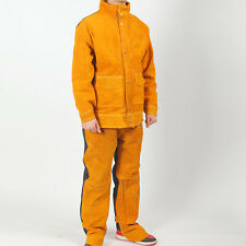 Leather Cowhide Welding Jacket Pant Heat Flame Resistant Heavy Duty For Men