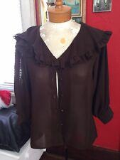 Vintage 80's Loubella Ruffled Collar Blouse Size 10 Romantic Brown Sheet Shirt