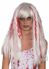 White Bloody Streaks Splatters Wig Adult Costume Accessory NEW Zombie