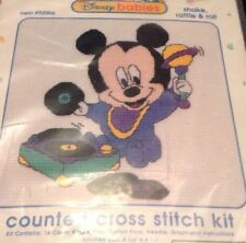 Mickey Mouse Disney Babies Cross Stitch Kit Shake Rattle Roll record player