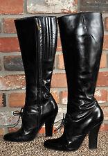 YSL YVES SAINT LAURENT Black Leather Tall Knee High Heel Boots W/Ties 8.5US 39