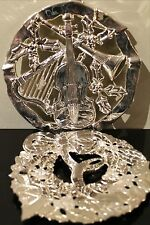 """TWO Christmas Themed SILVER PLATED TRIVETS, 9.25"""" & 8.75"""" Diameter"""