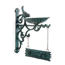 Garden Bird Feeder Dish Verdigris Cast Iron Wall Bracket with Welcome Sign