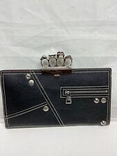 Alexander McQuen Black Zipper Embellished Brass Knuckle Clutch $2090
