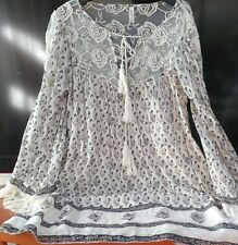 Free People Dress Beige Lace Cuff Bell M Sleeve Peasant Lined Floral Tunic Boho