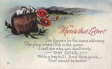 """""""Where's That Letter?""""~Stuffed US Mail Pouch in Pansies~Write Poem~1918 Postcard"""