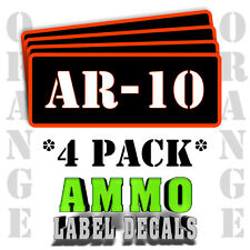 "AR-10 Ammo Label Decals for Ammunition Case 3"" x 1"" Can stickers 4 PACK -OR"