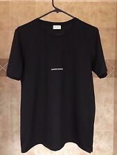 SAINT LAURENT ARCHIVE LOGO TEE BLACK SIZE MEDIUM SLP YSL YVES FLAG RED TOMMY