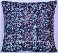 Ethnic Vintage Floral Printed Silk Kantha Cushion Cover Indian Decor Sofa Sham