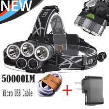 50000LM 5-Head CREE XM-L T6 LED 18650 Micro USB Headlamp Headlight Torch Charger