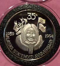 1994 Alaska Statehood 35 Anniversary 1 Troy Oz .999 Fine Silver Round Proof Coin