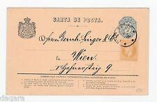 B. 85 -Romania postcard,1876,Mi. P 9,Additional franking , Bucuresti-Wien,1876