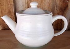 VTG Franciscan Earthenware Tea Pot Beachy MALIBU White Turquoise Band FREE SHIP