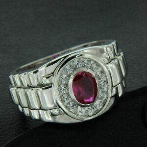 2.10 Ct Oval Cut Ruby Halo Diamond 14K White Gold Finish Men's Engagement Ring
