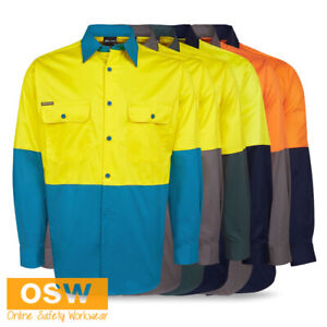 Hi Vis Long Sleeve Pre-Shrunk Cotton Drill Day Light Weight 150g Work Shirt